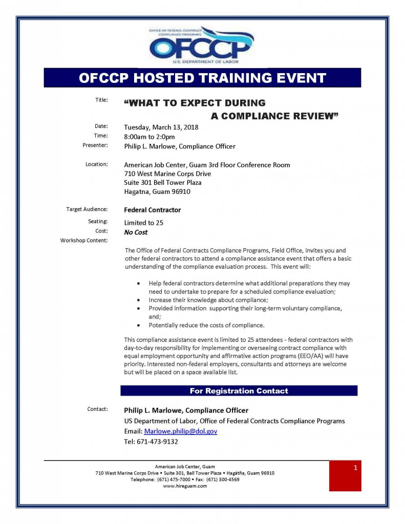 BS OFCCP Compliance Review for Federal Service Supply Contracts 2018.03.13