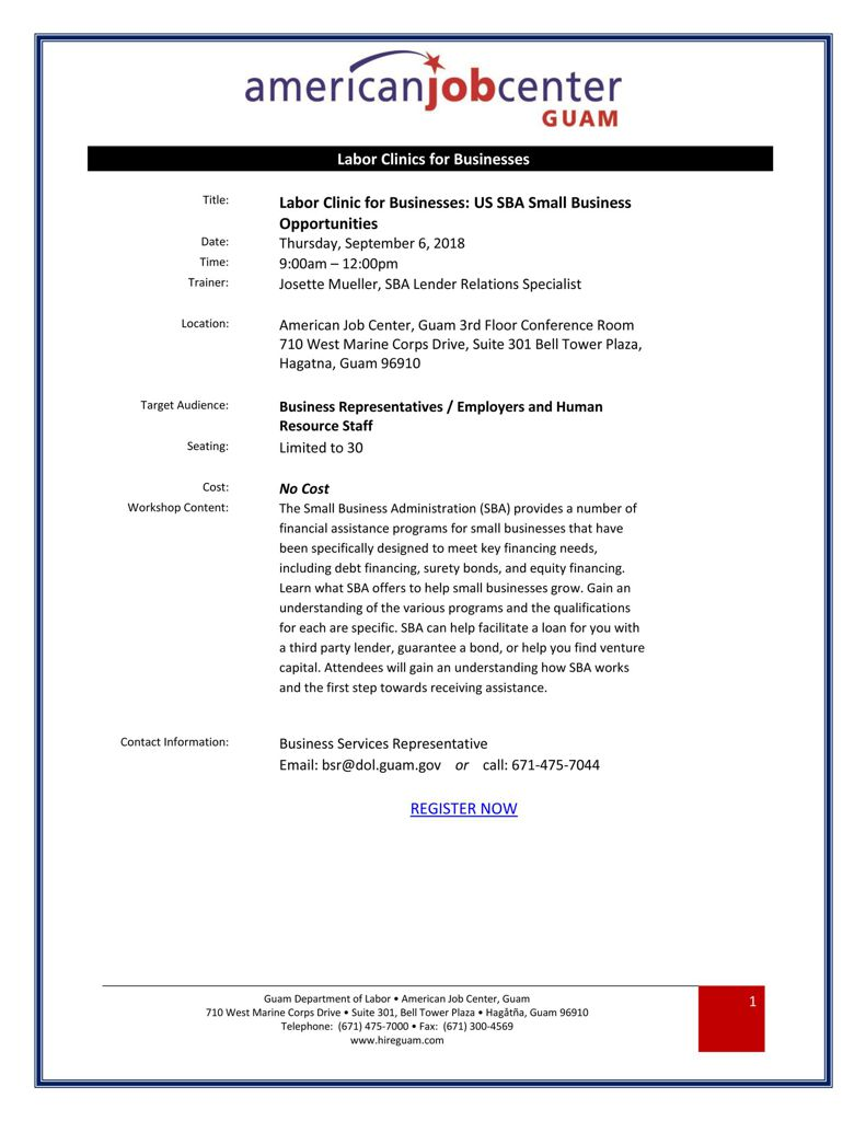 US SBA Small Business Opportunities 2018.09.6
