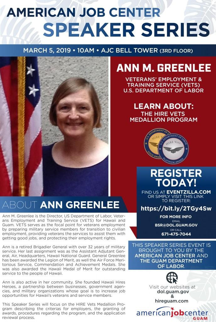 Speaker Series: Ann Greenlee, U.S. DOL Director for Veterans' Employment & Training Services