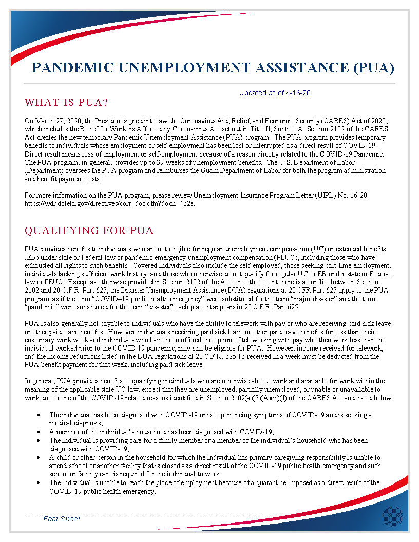 CLICK TO VIEW PANDEMIC UNEMPLOYMENT ASSISTANCE FACT SHEET