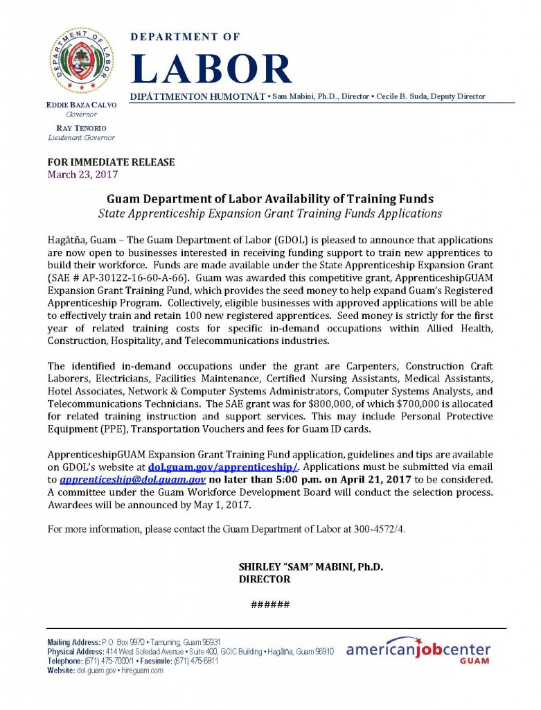 Press Release - GDOL Availability of Training funds - State Apprenticeship Expansion Grant