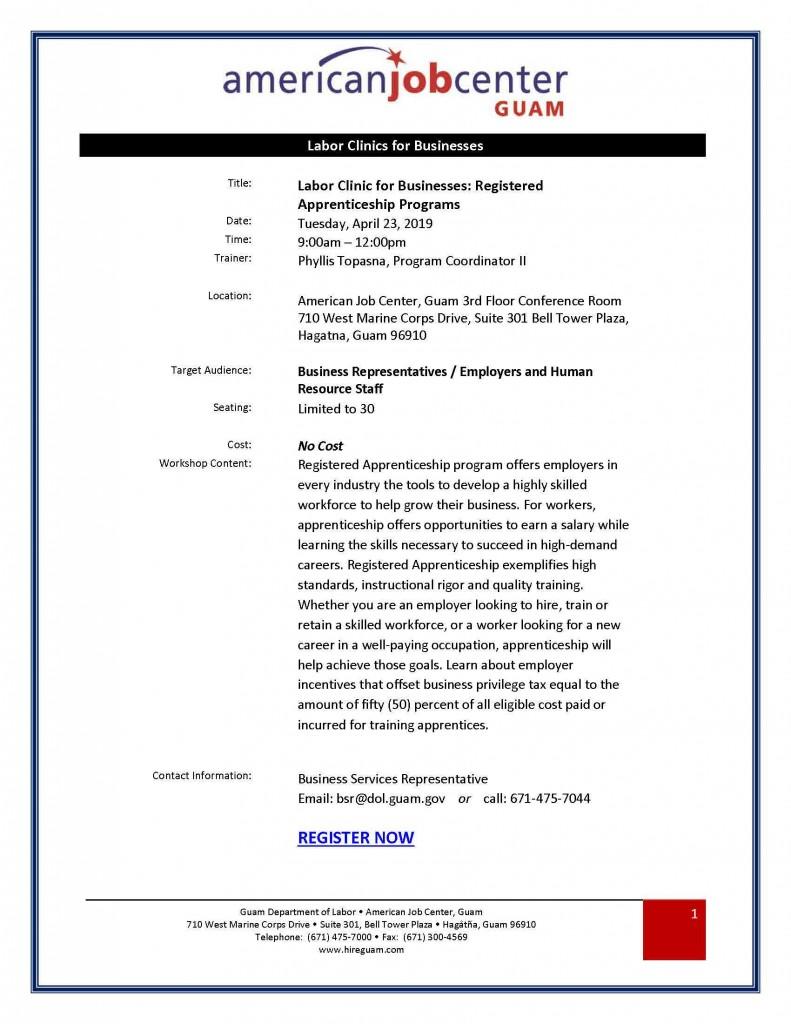 Labor Clinic for Businesses: Registered Apprenticeship Programs Flyer