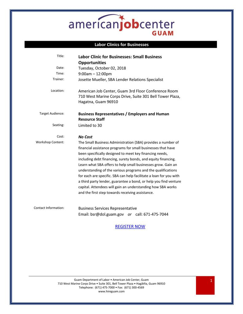 US SBA Small Business Opportunities 2018.10.02