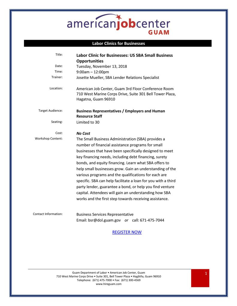 US SBA Small Business Opportunities 2018.11.13