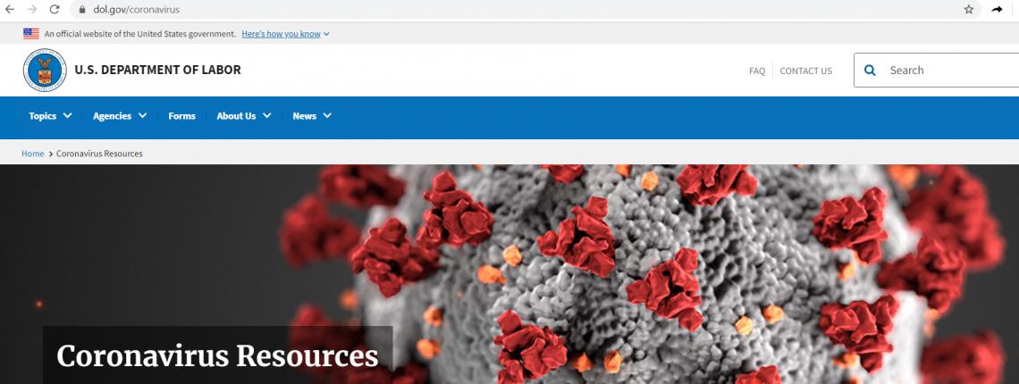 USDOL Corona virus 2020 Banner