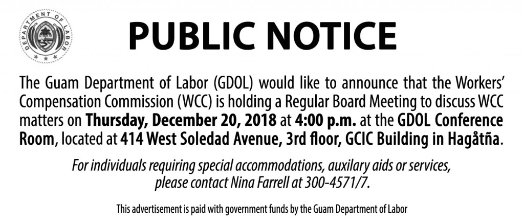 Public Notice Workers' Compensation Commission Regular Board Meeting
