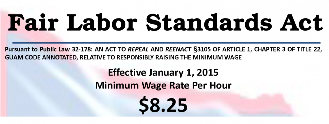 Minimum Wage Rate Per Hour $8.25 Banner